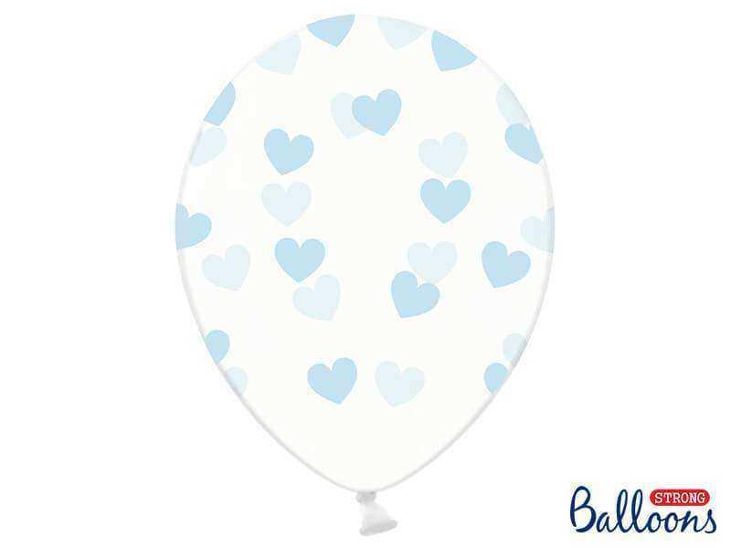 balon w niebieskie serca