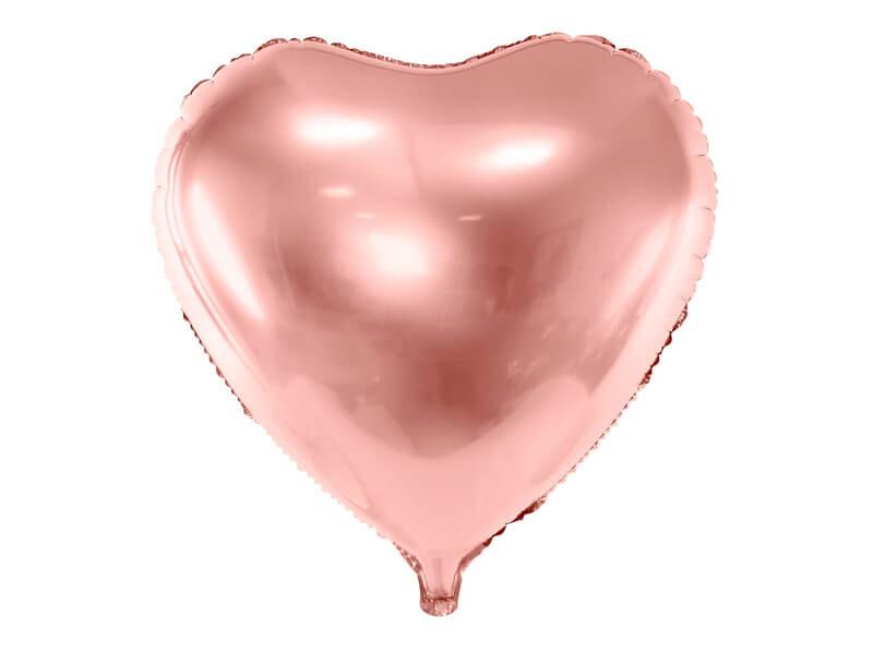 balon serce różowe złoto