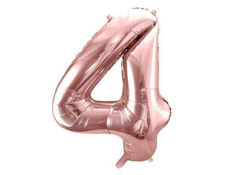 balon cyfra 4 różowo-złoty