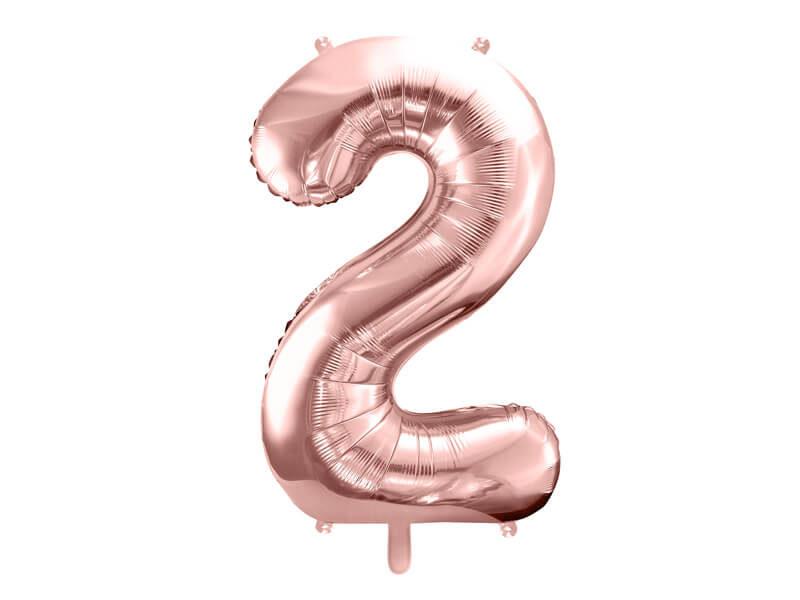 balon cyfra 2 różowo-złota