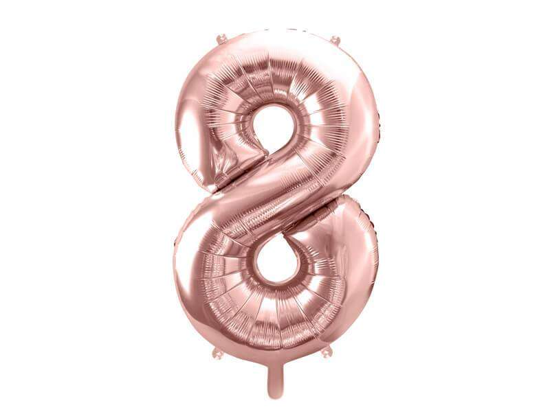 balon cyfra 8 różowo-złoty