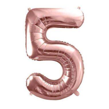balon cyfra 5 różowo-złoty