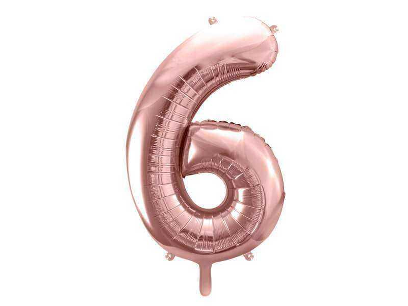 balon cyfra 6 różowo-złoty