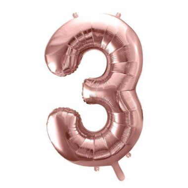 balon cyfra 3 różowo-złota