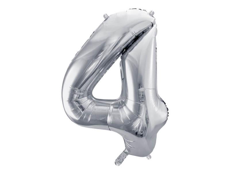 srebrna cyfra 4 balon