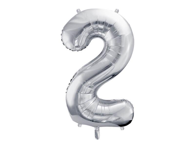 srebrna cyfra 2 balon