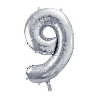 balon cyfra 9 srebrna