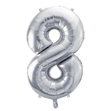 balon cyfra 8 srebna