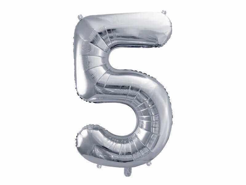 srebrna cyfra 5 balon
