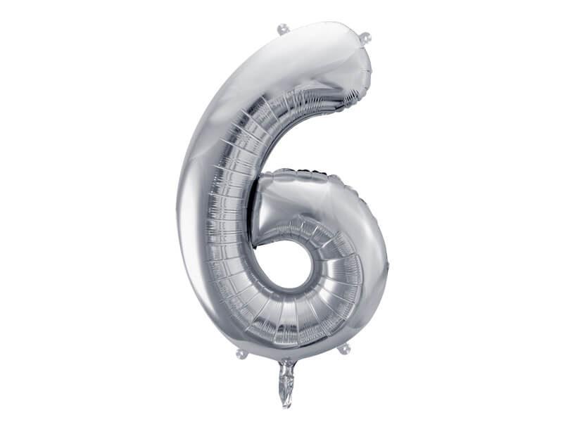 srebrna cyfra 6 balon