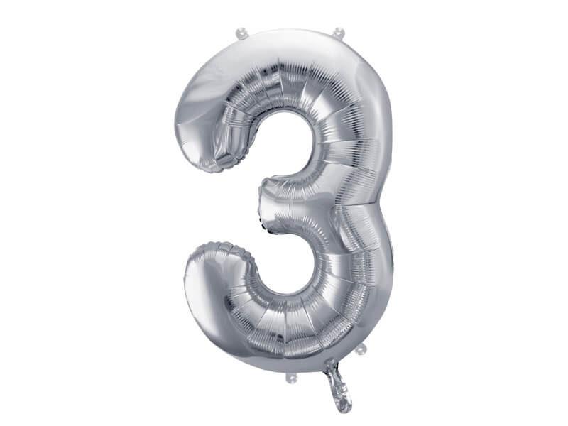 srebrna cyfra 3 balon