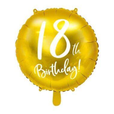 balon na 18 urodziny złoty