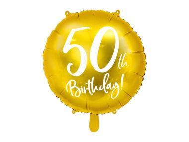 złoty balon na 50 urodziny