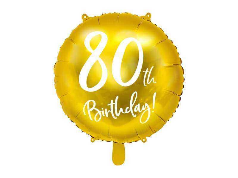 złoty balon na 80 urodziny