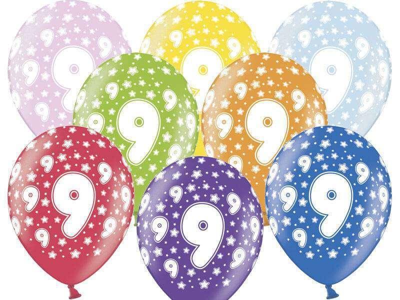 balon z nadrukiem cyfra 9