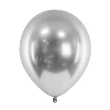 balon błyszczący srebrny