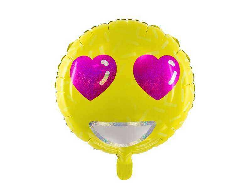 foliowy balon emotikon serca żółty