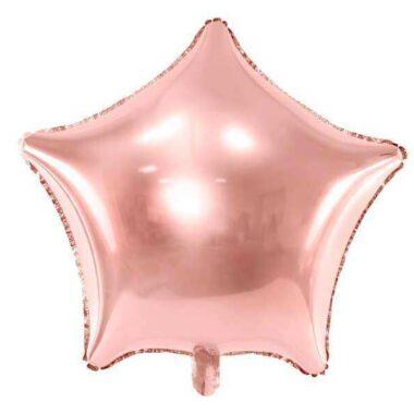 foliowy balon gwiazda różowe złoto