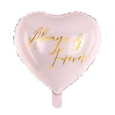 balon serce z napisem always&forever jasnoróżowy