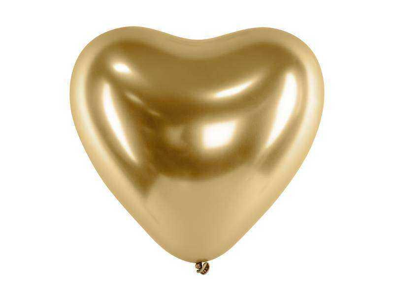 złoty balon serce z połyskiem
