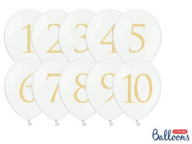biały balon ze złotą cyfrą
