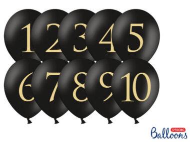 czarny balon ze złotą cyfrą