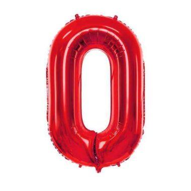 balon cyfra 0 czerwony 86 cm