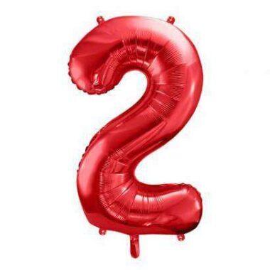 balony foliowy cyfra 2 czerwony 86 cm