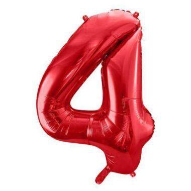 foliowy balony cyfra 4 czerwony 86 cm