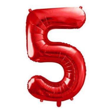 foliowy balony cyfra 5 czerwony 86 cm