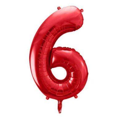 foliowy balony cyfra 6 czerwony 86 cm