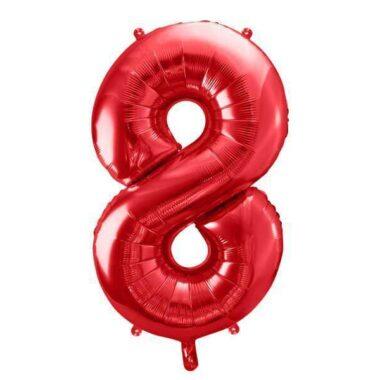 foliowy balony cyfra 8 czerwony 86 cm