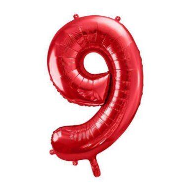 foliowy balony cyfra 9 czerwony 86 cm